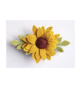 felt sunflower clip or headband, clip, one size