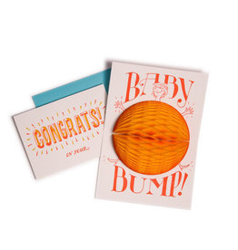 "belly ""bump"" baby card with expanding honeycomb"