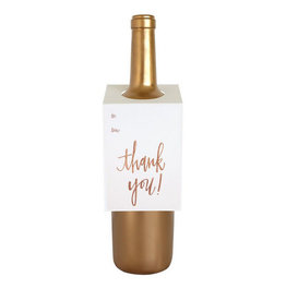 chez gagne thank you - rose gold wine & spirit tag