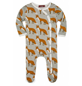 milkbarn long sleeve orange fox romper