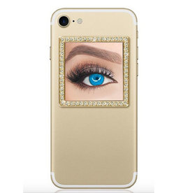 square selfie mirror-gold/clear crystals