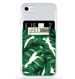 banana leaf faux leather phone pocket