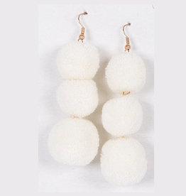 3 pom earrings