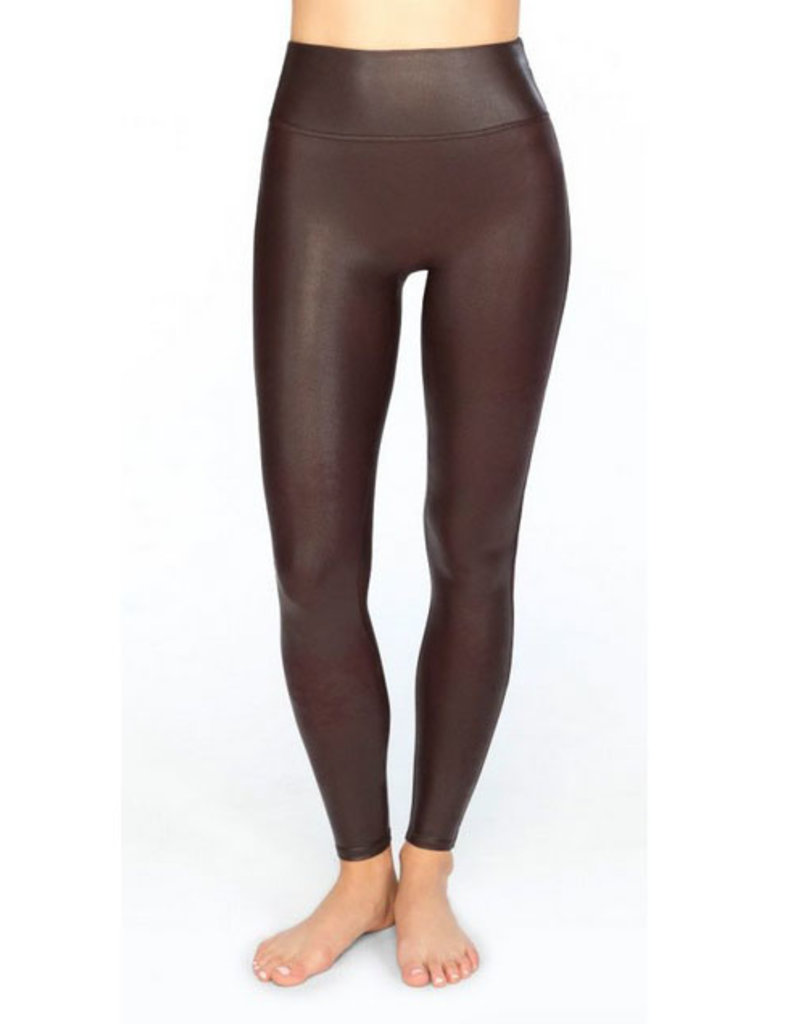 spanx wine faux leather legging