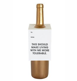 chez gagne more tolerable wine tag FINAL SALE