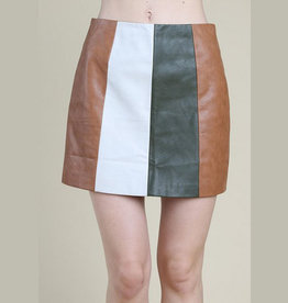 wild honey high waisted color block mini skirt