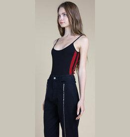 wild honey basic spaghetti strap body suit with side stripe FINAL SALE
