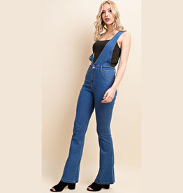 wild honey denim jumpsuit with low vneck