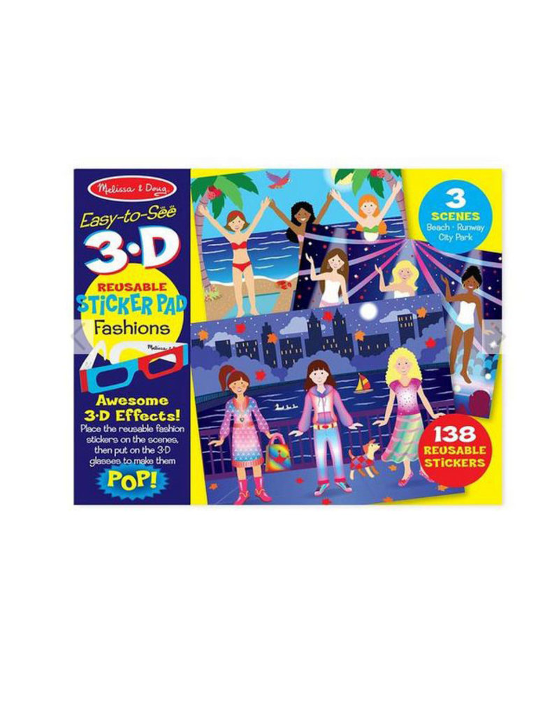 melissa and doug easy to see 3D reusable sticker pad fashions