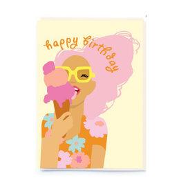 happy birthday ice cream girl card