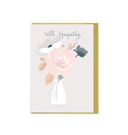 with sympathy rose vase card
