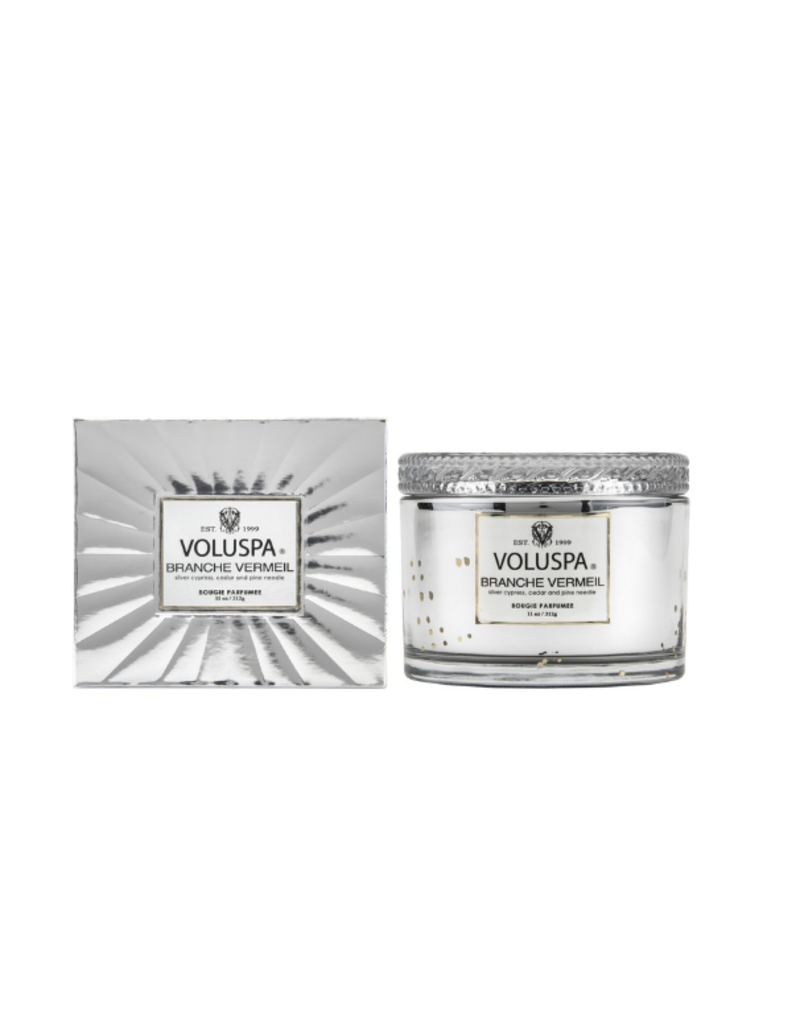 voluspa branche vermeil 11 oz corta maison glass candle