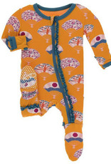 kickee pants apricot fans muffin ruffle footie with zipper
