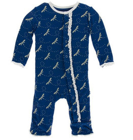 kickee pants navy dragonfly muffin ruffle coverall with snaps