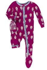 kickee pants dragonfruit lantern festival muffin ruffle footie with zipper
