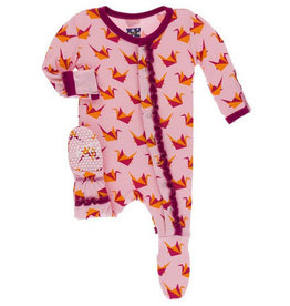 kickee pants lotus origami crane muffin ruffle footie with zipper