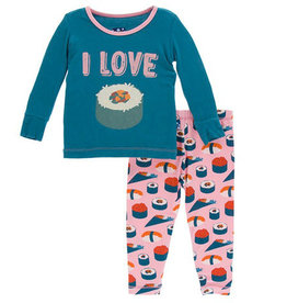 kickee pants lotus sushi long sleeve pajama set