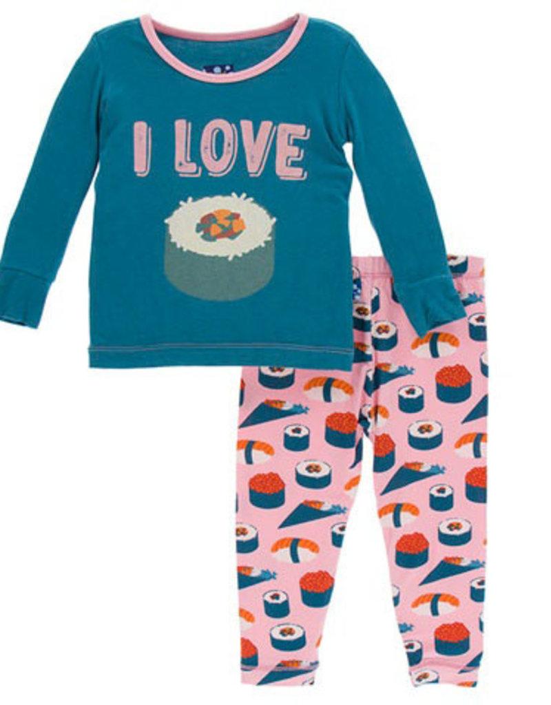 kickee pants lotus sushi long sleeve pajama set