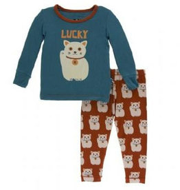 kickee pants lucky cat long sleeve pajama set
