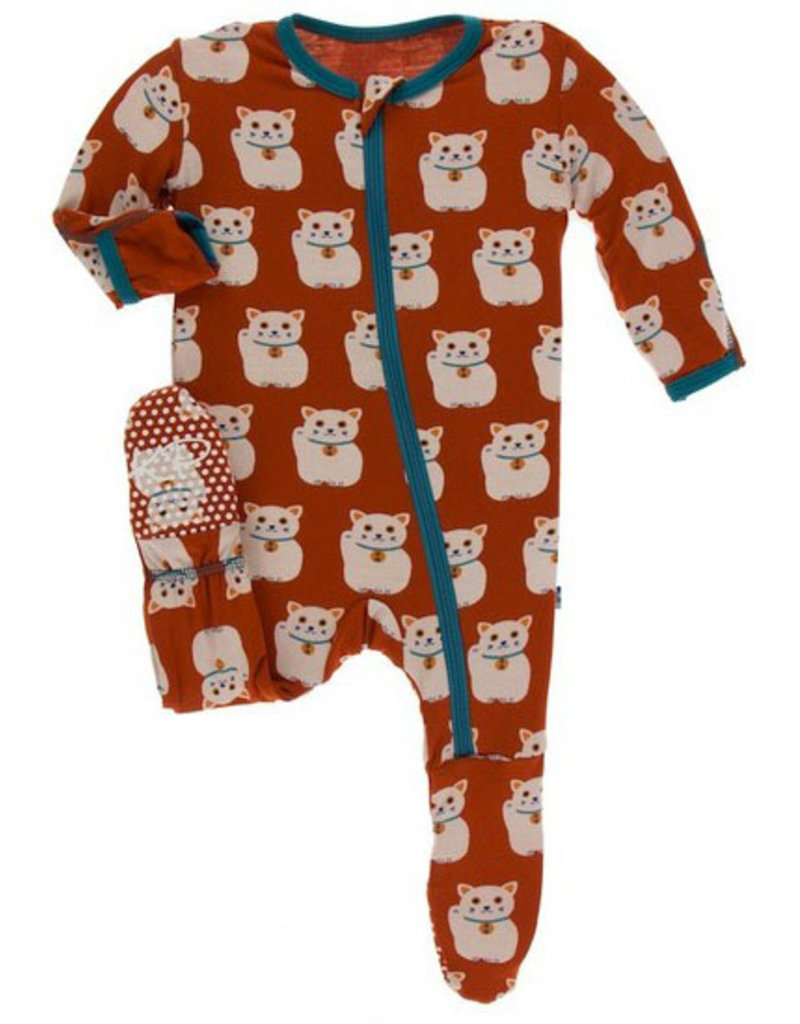 kickee pants lucky cat print footie with zipper