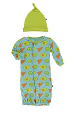 kickee pants avocado chips and lime gown converter and knot hat set