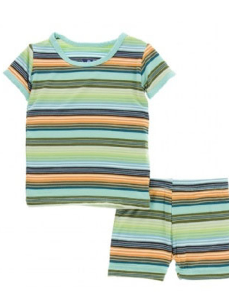 kickee pants cancun glass stripe short sleeve pajama set with shorts