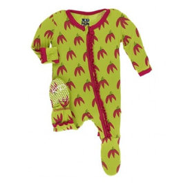 kickee pants meadow chili peppers muffin ruffle footie with zipper