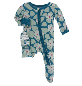 kickee pants oasis hibiscus with oasis trim muffin ruffle footie with zipper