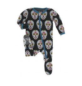 kickee pants dia de los muertos footie with zipper