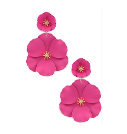 painted matte flower drop earrings