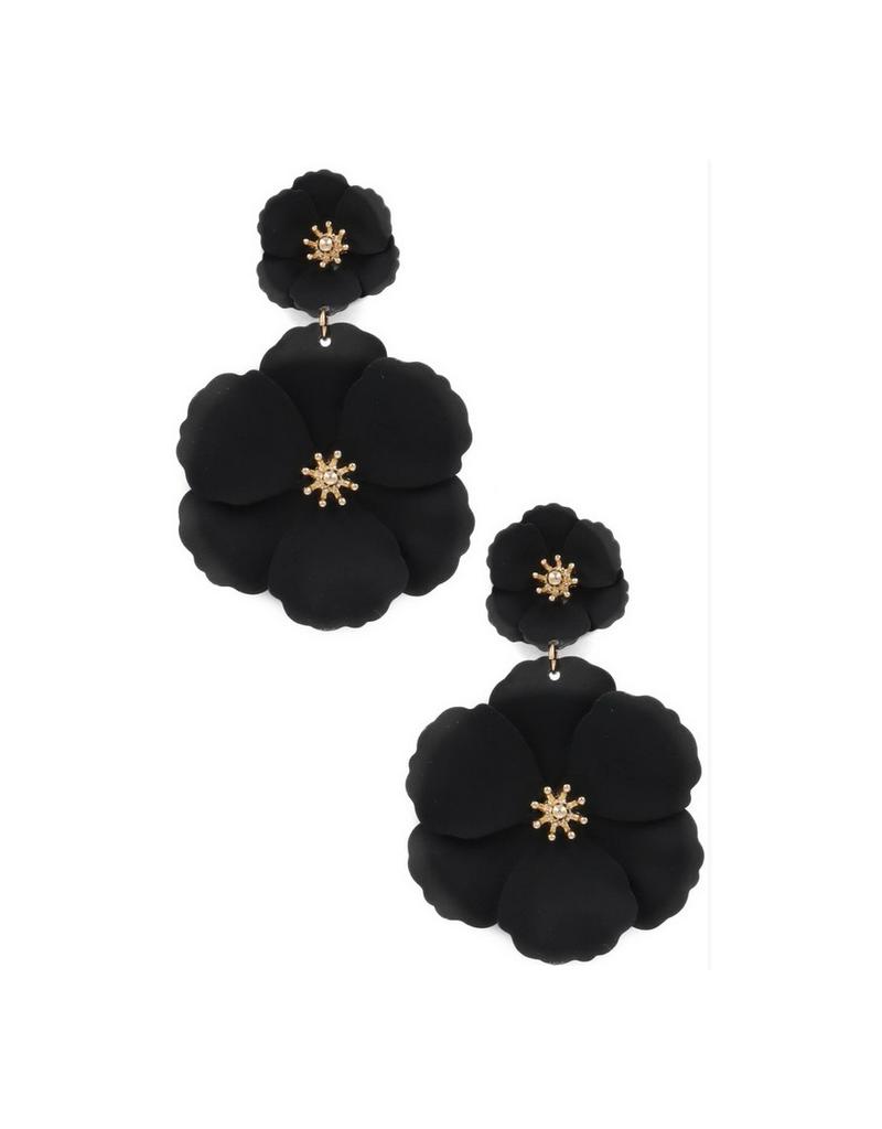 painted matte flower drop earrings