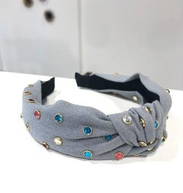gray knot headband with multi color rhinestone eyelets