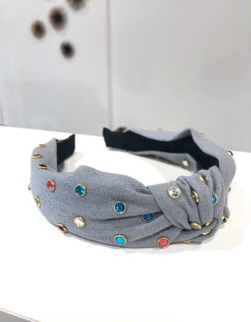 gray knot headband with multi color rhinestone eyelets