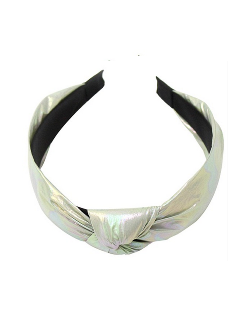 iridescent headband with knot