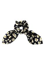 leopard print scrunchie with tied mini scarf