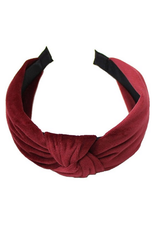 burgandy velvet headband with knot