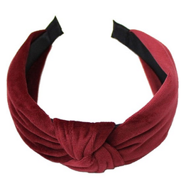 burgandy velvet headband with knot