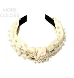 silk knot headband with pearls