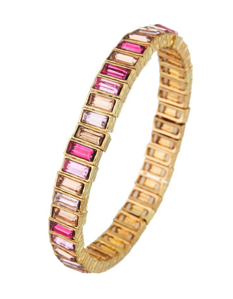 stretch bracelet with multi pink color baguette stones
