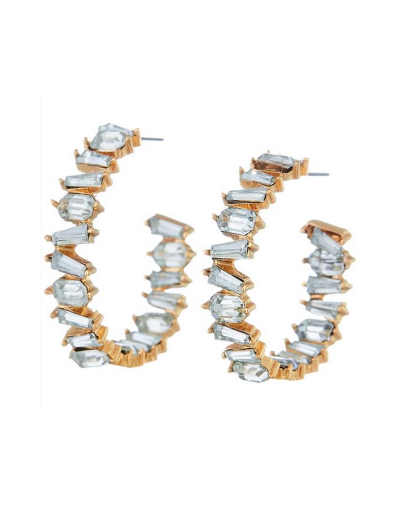 baguette crystal hoop earrings