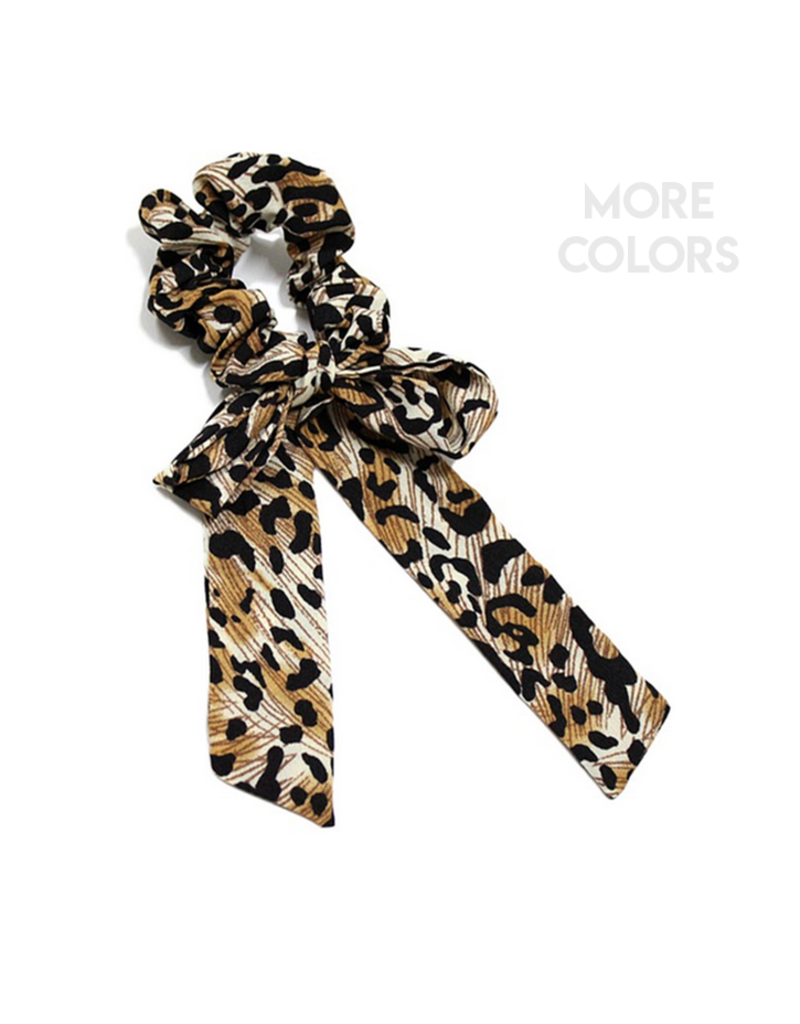 leopard print scrunchie with oversize bow