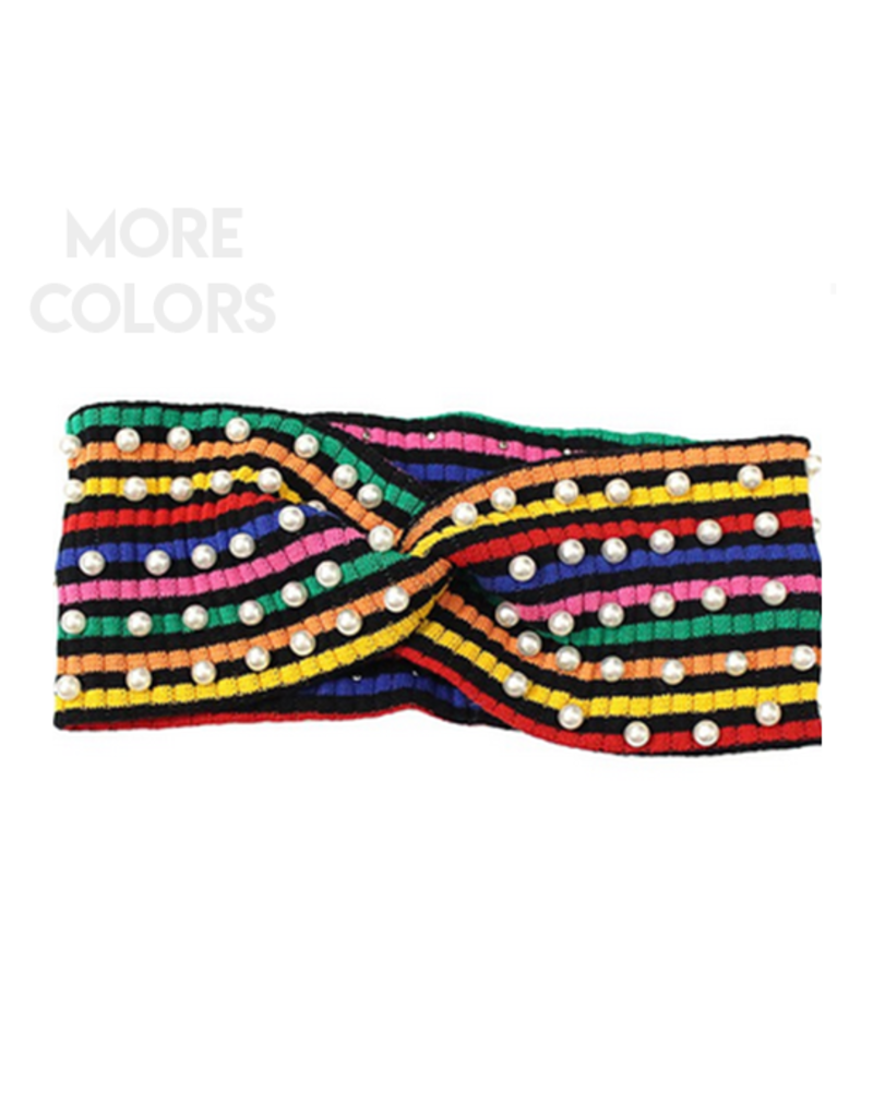 ribbed multi-color stripe headband with pearls