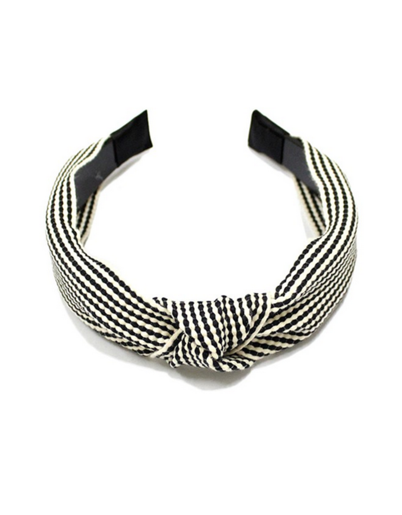 two tone woven headband with knot - black