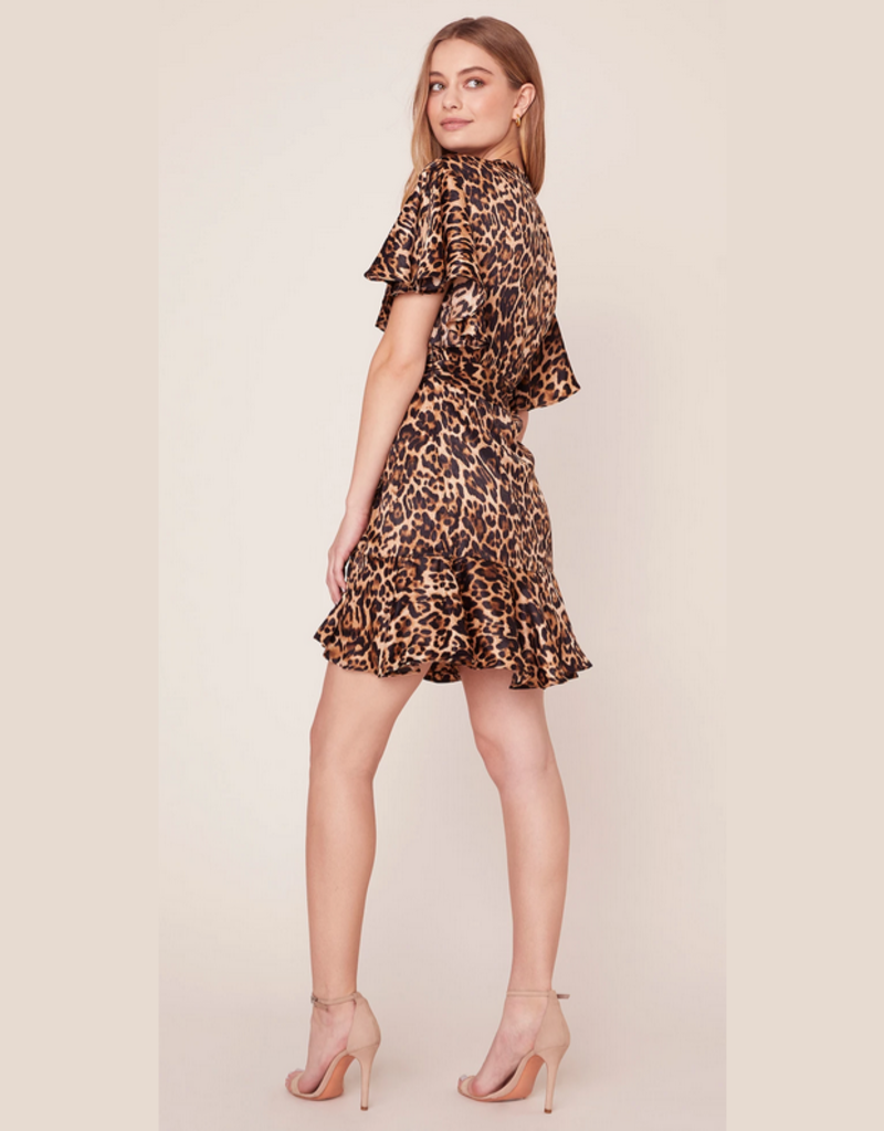 bb dakota wild card leopard satin wrap dress