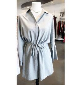 micro stripe button down shirt dress FINAL SALE