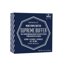spongelle mens supreme body wash infused buffer - cedar absolute