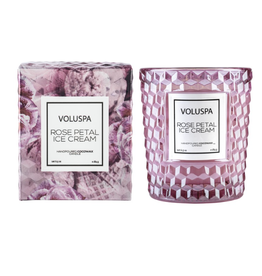 voluspa rose petal ice cream classic candle in textured glass