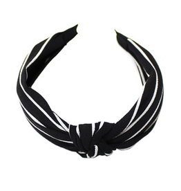 stripe knot headband black