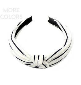 stripe knot headband white