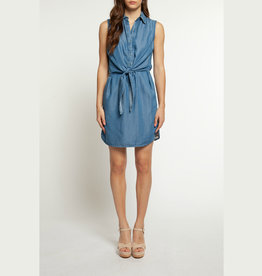 dex sleeveless shirt dress with front tie